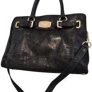 527b98c3e9c80e Michael Kors Hamilton Python Embossed leather Tote